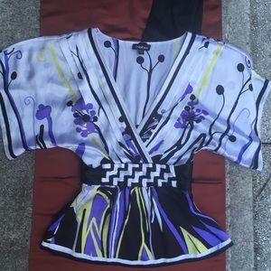 BEBE Kimono BLOUSE 100% Silk TOP Shirt XXS